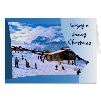Cartes Appréciez Noël neigeux dans les alpes françaises 1