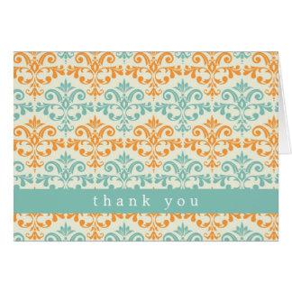 Cartes Aqua et motif orange de damassé
