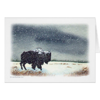 Cartes Aquarelle de bison époussetée par neige