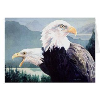 """Cartes Aquarelle de paires d'Eagle chauve de """"vigilance"""""""