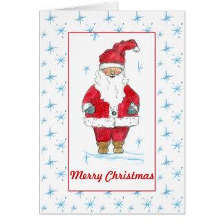 Cartes Aquarelle de rouge du père noël de Joyeux Noël