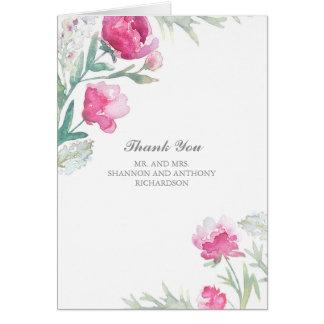 Cartes aquarelle florale - le mariage rose de pivoine