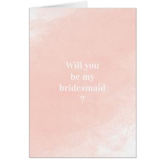 Cartes Aquarelle rose simple vous serez ma demoiselle
