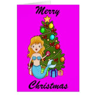 Cartes Arbre bleu de sirène et de Noël