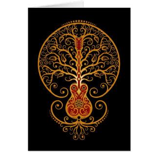 Cartes Arbre de guitare, rouge et noir d'or