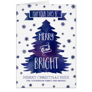 Cartes Arbre de Noël bleu d'aquarelle nous avons déplacé
