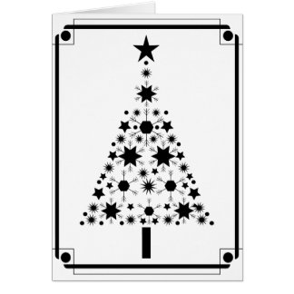 Cartes Arbre de Noël noir et blanc d'art abstrait