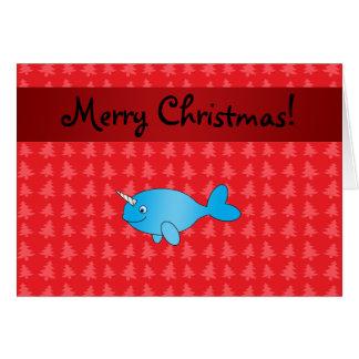 Cartes Arbres de Noël rouges narwhal nommés personnalisés