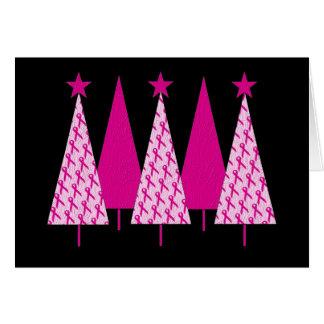 Cartes Arbres de Noël - ruban rose de cancer du sein