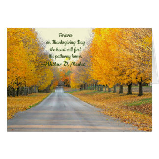 CARTES ARBRES D'OR RAYANT ROADWAY/THANKSGIVING CARD/CUST
