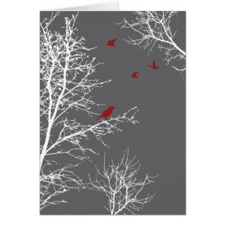 Cartes Arbres et oiseaux paisibles de silhouette d'hiver