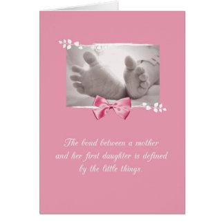 Cartes Arc de rose de pieds de bébé de félicitations de