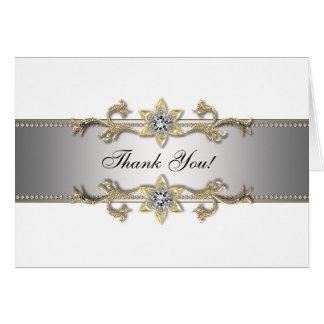 Cartes argentées blanches de Merci d'or de bijou