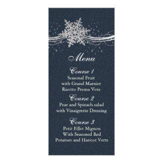 Cartes argentées bleues de menu de mariage d'hiver