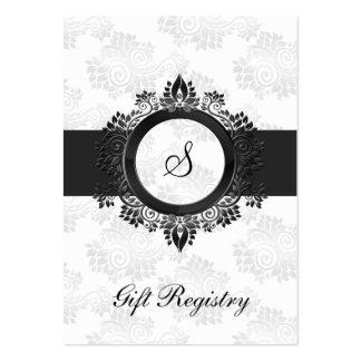 cartes argentées de liste de cadeaux de monogramme carte de visite grand format