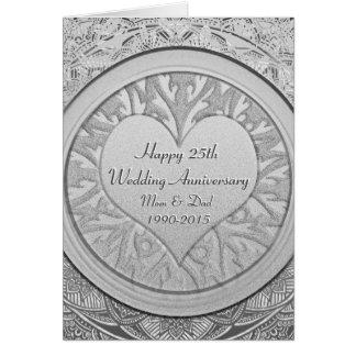 Cartes Argentez le 25ème anniversaire de mariage