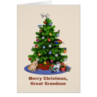 Cartes Arrière-petit-fils, arbre de Joyeux Noël, oiseaux,