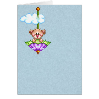 Cartes Art de pixel d'ours d'équitation de parapluie