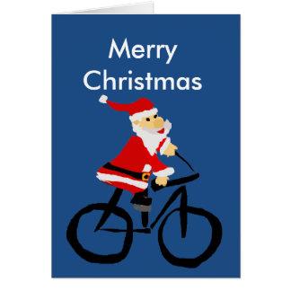 Cartes Art drôle de Noël de bicyclette d'équitation du