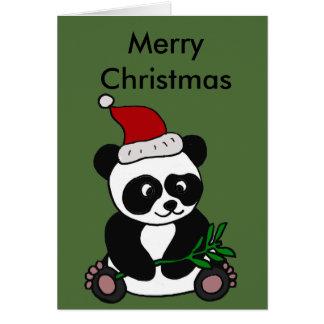 Cartes Art drôle de Noël d'ours panda