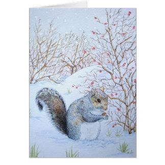 Cartes art gris mignon de faune de scène de neige