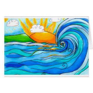 Cartes Art hawaïen de surf - la grande vague