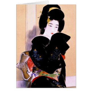 Cartes Art japonais traditionnel oriental frais de dame