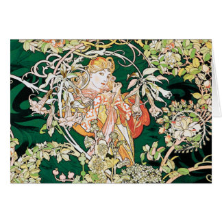 Cartes Art Nouveau de Mucha : Femme avec la marguerite