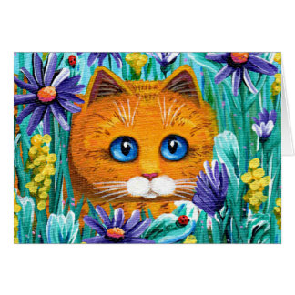 Cartes Asters tigrés oranges Creationarts de chat drôle