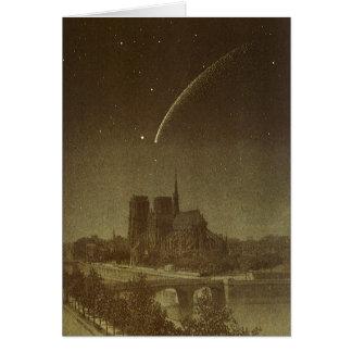 Cartes Astronomie vintage, comète de Donati au-dessus de