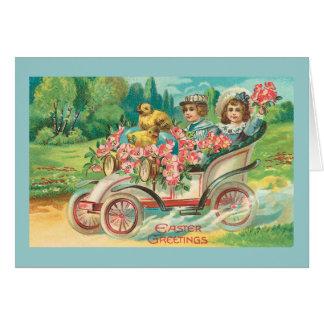 Cartes Automobile vintage de salutations de Pâques