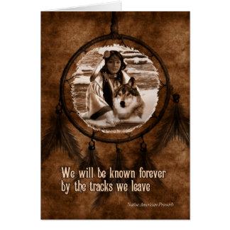 Cartes Avec le loup Dreamcatcher de Natif américain de