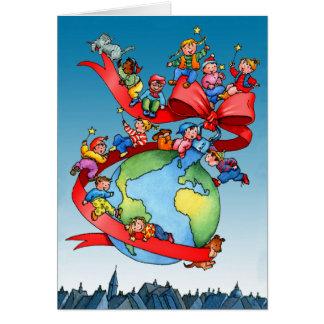 Cartes Babiole de globe de Noël avec des enfants