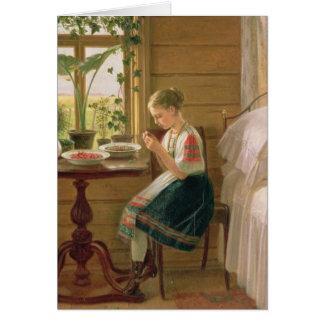 Cartes Baies d'épluchage de fille, 1880