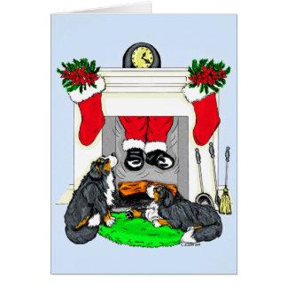 Cartes Baisses de Père Noël de chien de Bernese Mt dedans