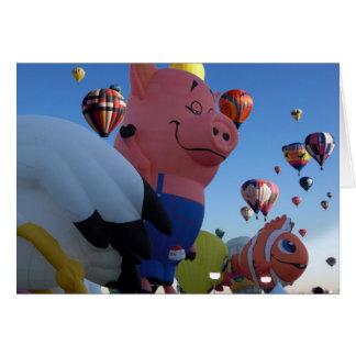 Cartes Ballon à air chaud de porc songeur