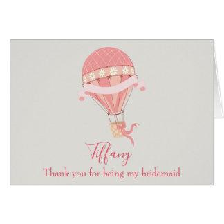 Cartes Ballon à air chaud de rose de Merci de demoiselle