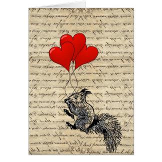Cartes Ballons d'écureuil et de coeur