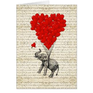 Cartes Ballons romantiques d'éléphant et de coeur