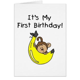 Cartes Banane - anniversaire de singe de garçon ęr