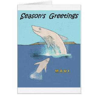 Cartes Bande dessinée : Baleines cabriolant près de Maui