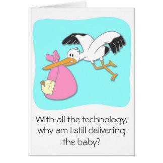 Cartes Bande dessinée de transport de bébé de cigogne