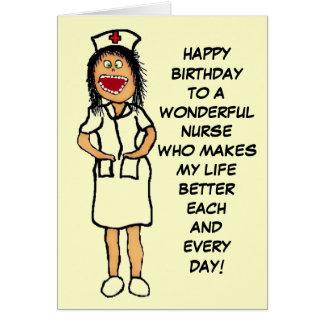 Cartes Bande dessinée d'infirmière de joyeux anniversaire