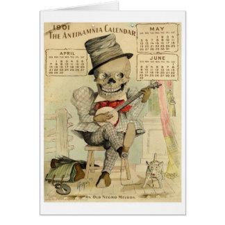 Cartes Banjo vintage jouant le squelette