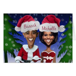 Cartes Barack et vacances de caricature de Michelle Obama