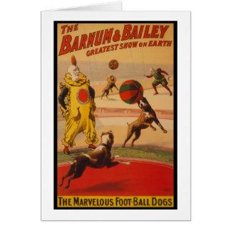 Cartes Barnum et chiens du football de cirque de Bailey