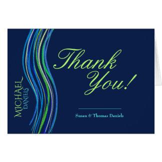 Cartes Barre Merci bleu et vert de Mitzvah de prière de
