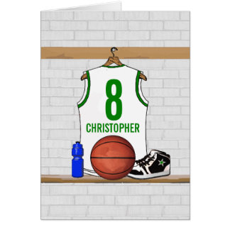 Cartes Basket-ball blanc et vert personnalisé Jersey