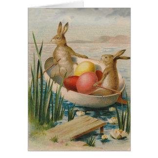 Cartes Bateau coloré par lapin d'oeufs de Pâques