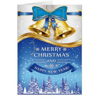 Cartes Beau Noël Bells d'or avec l'arc bleu